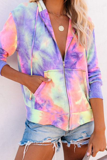 Mehrfarbiger Tie-Dye Pocket Zip Up Hoodie