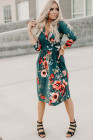 Green Floral Long Sleeve Wrap Dress