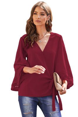 Wine Crochet Trim Wrap Blouse