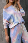 Blue Tie-dye Knit Lounge Set