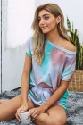 Multicolor Tie Dye Home Pajamas Set