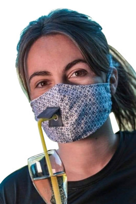 Printed Renusable Face Mask with Straw Hole