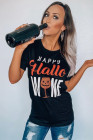 T-shirt HAPPY Hallo WINE Noir