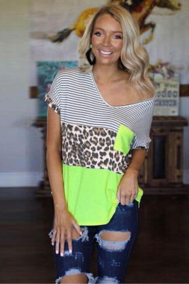 Neon Block Striped Leopard Patchwork V Neck Tee