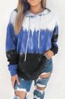 Langärmeliger Hoodie mit himmelblauem Farbverlauf