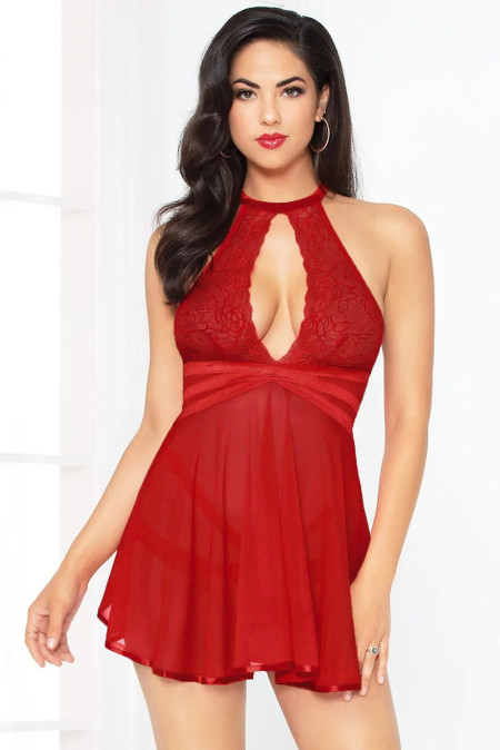 Red Open Keyhole Babydoll Set