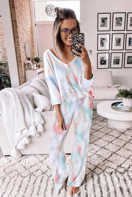 Deep V-neck Dropped Shoulder Tie-dye Pajama Set