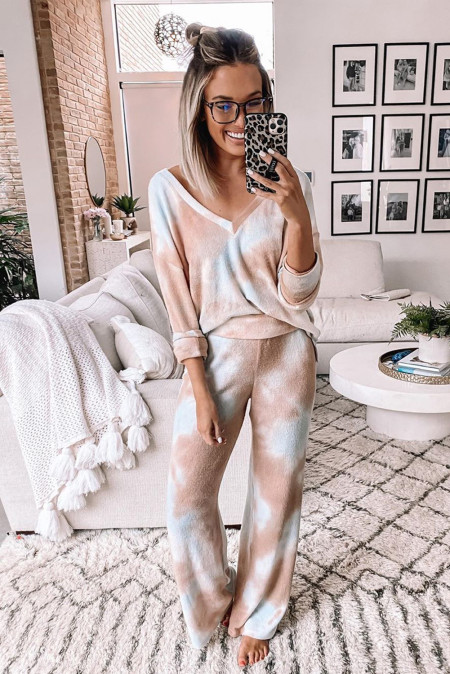 Multicolor Deep V-neck Dropped Shoulder Tie-dye Pajama Set