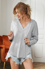 Gray Drawstring V Neck Hoodie Loungewear