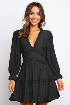 Black V Neck Ruffle Detailing Open Back Dress