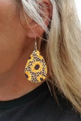 Pendientes con estampado de leopardo de flor de sol