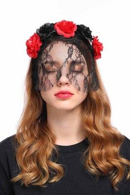 Bandeau Gothique Halloween Fleur Rose