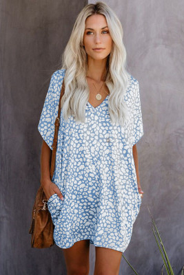 Blue V-Neck Half Sleeve Leopard Casual T Shirt Dress with Pockets