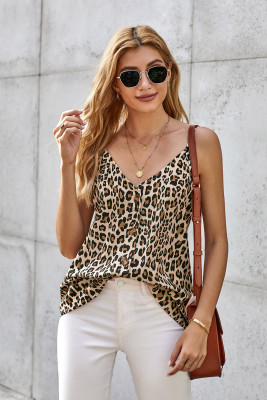 Débardeur chemise léopard marron à col en V boutonné