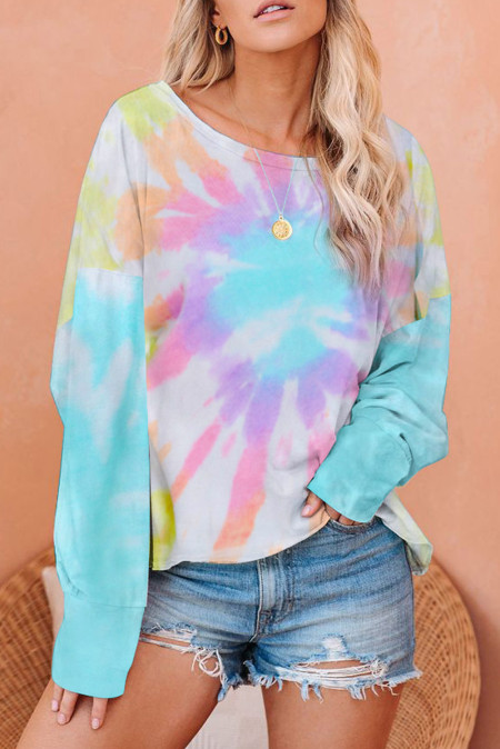 Rainbow Tie Dye Pullover Long Sleeve Top