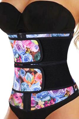 Цветочный принт Компрессионный ремень с двойным ремешком из латекса