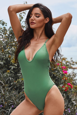 Green V Neck One Piece Swimsuit