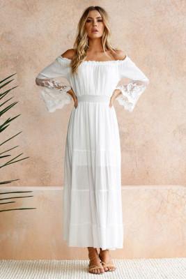 أبيض بدون أكتاف مطرزة بأكمام واسعة من الدانتيل فستان ماكسي
