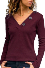 Wine V-neck Button Solid Color Long Sleeve Top