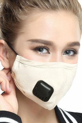 Beige Respirator Breath Valve KN95 Anti Dust PM2.5 Flu Mouth Mask with 2pcs Filters