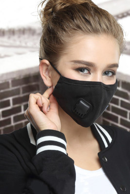 Black Respirator Breath Valve KN95 Anti Dust PM2.5 Flu Mouth Mask with 2pcs Filters