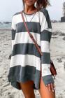 Sudadera informal gris con cuello redondo y abertura lateral grande