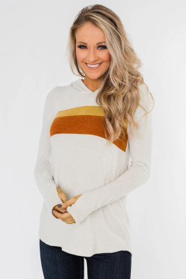 White Striped Colorblock Hoodie