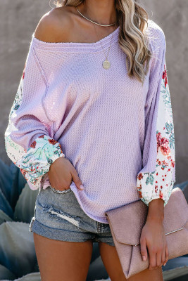 Purple Contrast Eyelet Thermal Knit Top