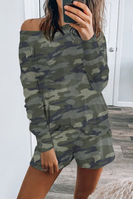 Green Camo Print Long Sleeve and Shorts Loungewear
