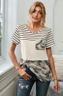 Camiseta con bolsillo de camuflaje color block