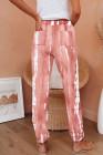 بنطلون رياضي منسوج بجيوب وردية اللون