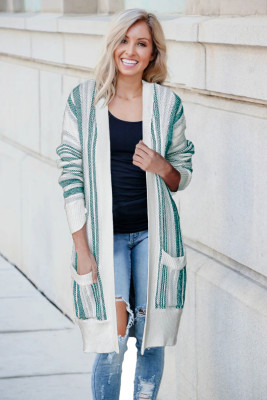 Green Pocketed Cotton Blend Cardigan