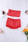 Conjunto de lencería sin mangas con estampado de malla de encaje rojo