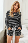 Black Striped Lounge Long Sleeves Shorts Set
