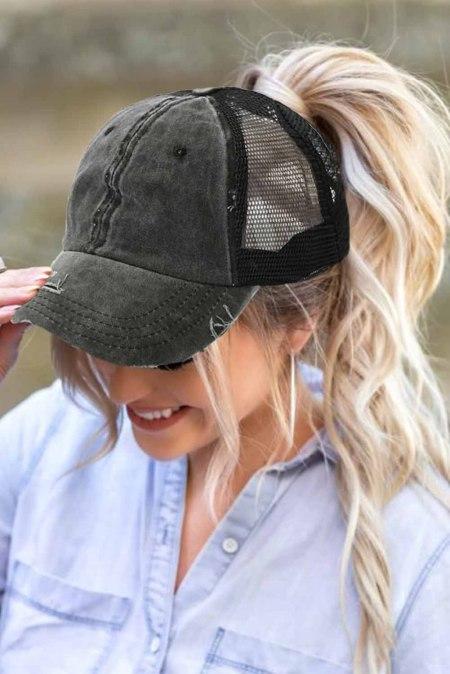 قبعة بيسبول شبكية من نسيج التويل باللون الأسود