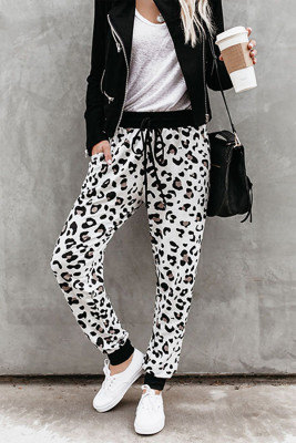 Leopard Cotton Pocketed Joggers