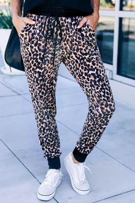Коричневые хлопковые джоггеры с карманами с леопардовым принтом
