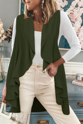 Green Sleeveless Cascade Open Front Draped Cardigan