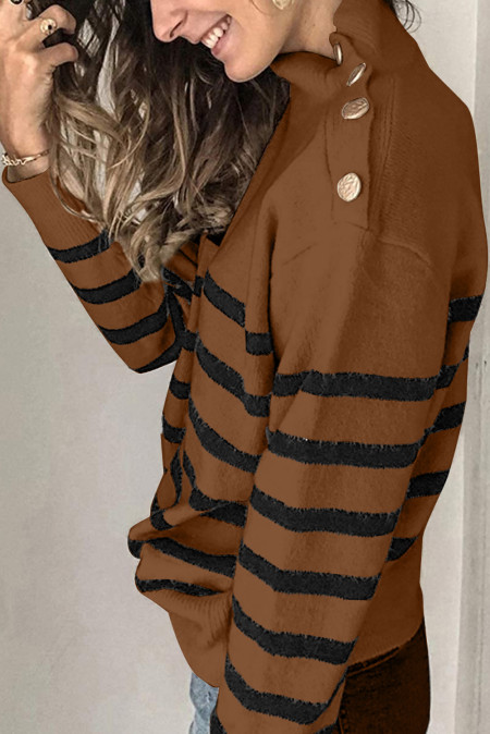 Khaki Striped Turtleneck Sweater with Buttons