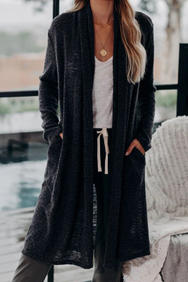 Schwarze Slouchy Pocketed Knit Longline Cardigan