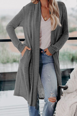 Graue Slouchy Pocketed Knit Longline Cardigan