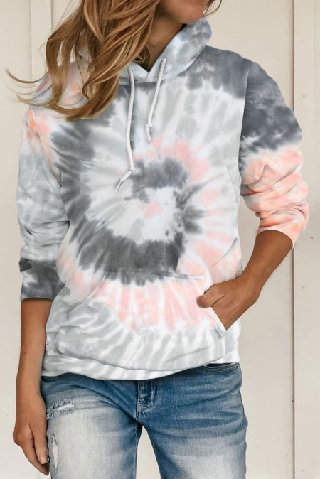 Grauer Tie Dye Pattern Hoodie