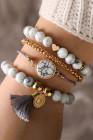 Grijze marmeren armbanden set