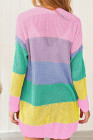 Pink Rainbow Color Block Open Front Drape Oversized Knitted Cardigan