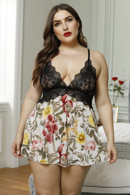 Plus Size Lace Bra Splicing Floral Babydoll