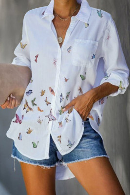 White Butterfly Print Pocketed Shirt