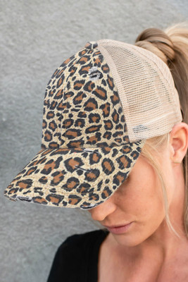 Casquette imprimée léopard jaune