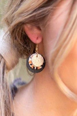 Drievoudige oorbellen van leer met luipaardprint