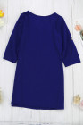 Blue V Neck Button Front Roll up Tab Sleeve Dress