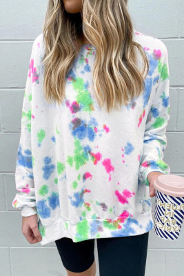 Sky Blue Oversize Scrawl Print Long Sleeve Top